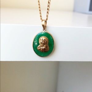 Jewelry - NEW 14K Gold Oval Jade Mother Maria Charm Pendant